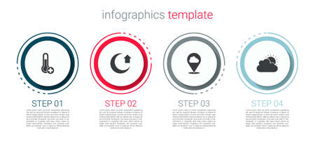 Set Meteorology thermometer, Moon, Location cloud and Sun and weather. Business infographic template. Vector
