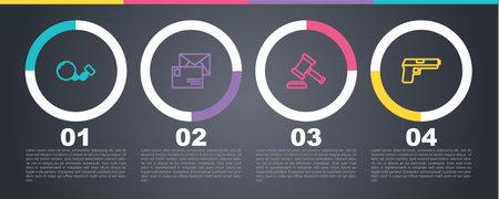 Set line Ball on chain, Envelope, Judge gavel and Pistol or gun. Business infographic template. Vector Ilustración de vector