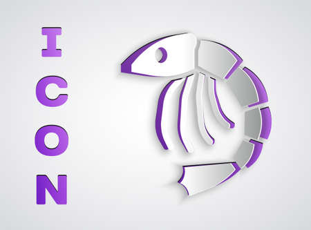 Paper cut Shrimp icon isolated on grey background. Paper art style. Vector Vector Illustratie