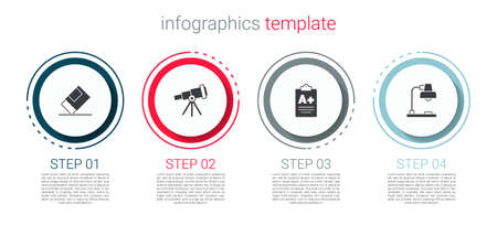 Set Eraser or rubber, Telescope, Exam sheet with A plus grade and Table lamp. Business infographic template. Vector