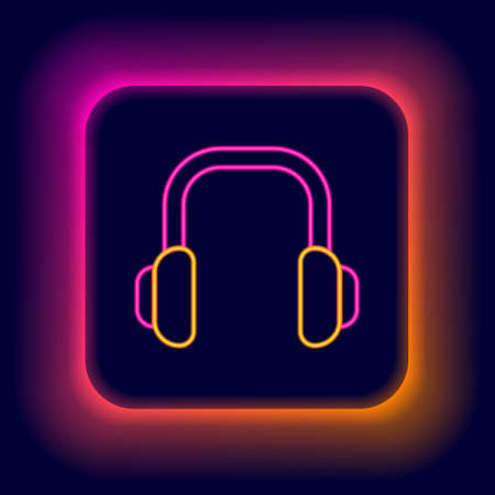 Glowing neon line Winter headphones icon isolated on black background. Earmuffs sign. Colorful outline concept. Vector