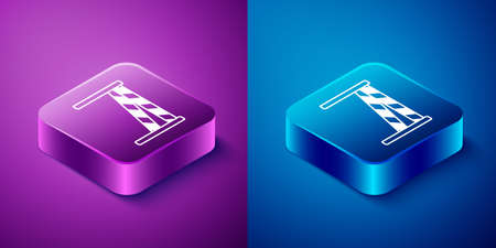 Isometric Crime scene icon isolated on blue and purple background. Square button. Vector