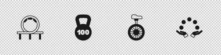 Set Roller coaster, Weight, Unicycle or one wheel bicycle and Juggling ball icon. Vector Vektorové ilustrace