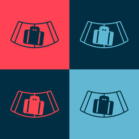 Pop art Airport conveyor belt with passenger luggage, suitcase, bag, baggage icon isolated on color background. Vector Vektorové ilustrace