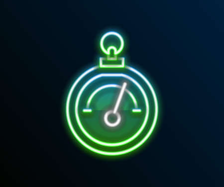 Glowing neon line Barometer icon isolated on black background. Colorful outline concept. Vector