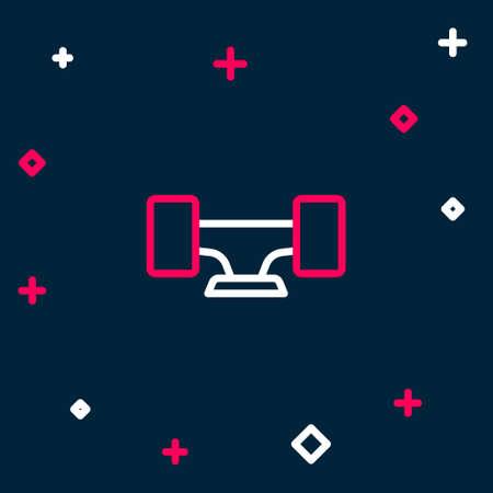 Line Skateboard wheel icon isolated on blue background. Skateboard suspension. Skate wheel. Colorful outline concept. Vector Vektoros illusztráció