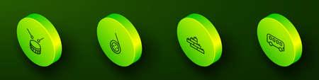 Set Isometric line Drum with drum sticks, Yoyo toy, Toy building block bricks and Bus icon. Vector Vektoros illusztráció
