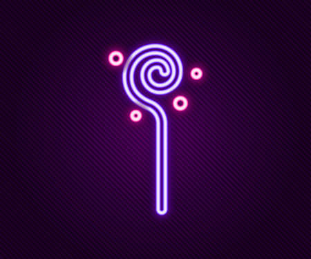 Glowing neon line Magic staff icon isolated on black background. Magic wand, scepter, stick, rod. Colorful outline concept. Vector