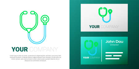 Line Stethoscope medical instrument icon isolated on white background. Colorful outline concept. Vector
