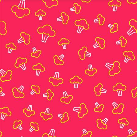 Line Broccoli icon isolated seamless pattern on red background. Vector
