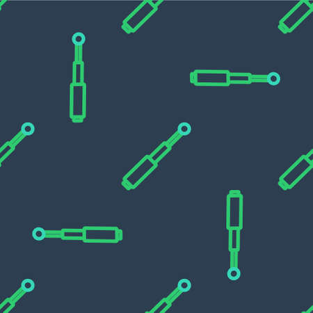 Line Telescopic baton icon isolated seamless pattern on blue background. Vector