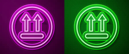 Glowing neon line Washing under 90 degrees celsius icon isolated on purple and green background. Temperature wash. Vector Vektorgrafik