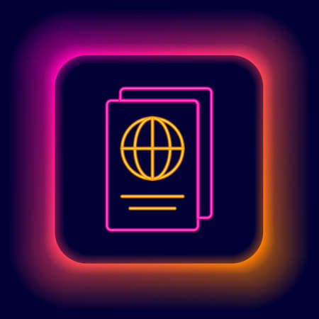 Glowing neon line Passport with biometric data icon isolated on black background. Identification document. Colorful outline concept. Vector