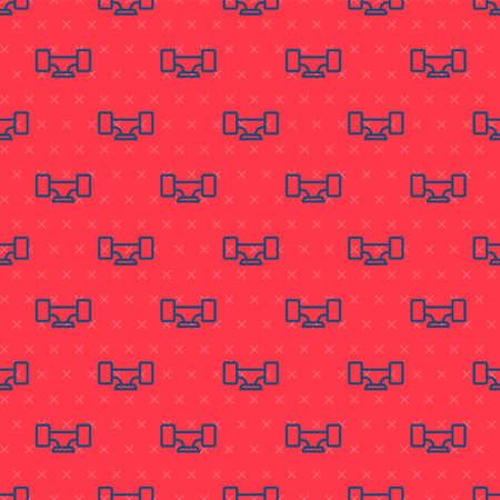 Blue line Skateboard wheel icon isolated seamless pattern on red background. Skateboard suspension. Skate wheel. Vector