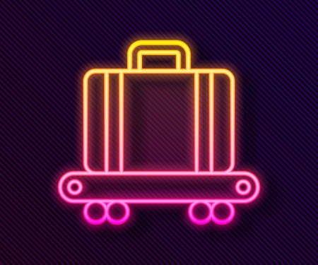 Glowing neon line Airport conveyor belt with passenger luggage, suitcase, bag, baggage icon isolated on black background. Vector Vektorové ilustrace