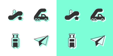 Set Paper airplane, Escalator up, Suitcase and Passenger ladder for boarding icon. Vector