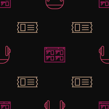 Set line Headphones, Cinema ticket and Online play video on seamless pattern. Vector