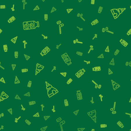 Set line Pickled cucumbers in a jar, The Tsar bell and Ice hockey stick and puck on seamless pattern. Vector