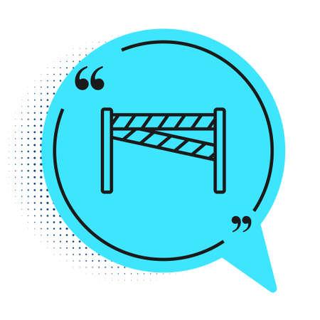 Black line Crime scene icon isolated on white background. Blue speech bubble symbol. Vector