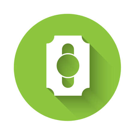 White Circus ticket icon isolated with long shadow background. Amusement park. Green circle button. Vector