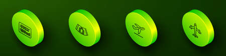 Set Isometric line Liquids in carry-on baggage, Conveyor belt with suitcase, Plane takeoff and icon. Vector