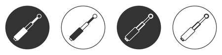 Black Telescopic baton icon isolated on white background. Circle button. Vector