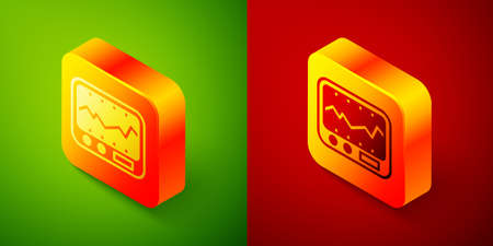 Isometric Electrical measuring instrument icon isolated on green and red background. Analog devices. Measuring device laboratory research. Square button. Vector