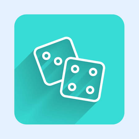 White line Game dice icon isolated with long shadow. Casino gambling. Green square button. Vector