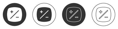 Black Exposure compensation icon isolated on white background. Circle button. Vector Vettoriali