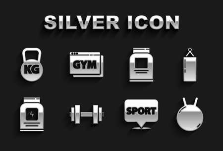 Set Dumbbell, Punching bag, Kettlebell, Location gym, Sports nutrition, and Online fitness and training icon. Vector