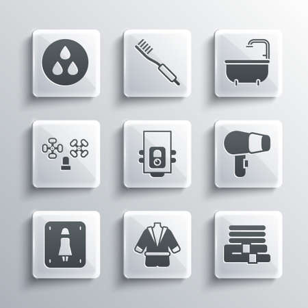 Set Bathrobe, Towel stack, Hair dryer, Gas boiler, Female toilet, Water tap, drop and Bathtub icon. Vector Vektorgrafik
