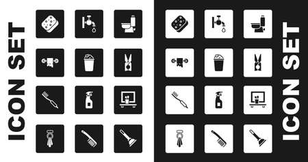 Set Toilet bowl, Bucket with soap suds, paper roll, Sponge, Clothes pin, Water tap, Washbasin mirror and Toothbrush icon. Vector