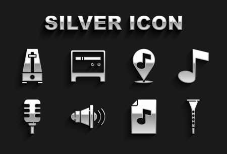 Set Speaker volume, Music note, tone, Clarinet, book with, Microphone, Location musical, Metronome pendulum and Guitar amplifier icon. Vector Vektorgrafik
