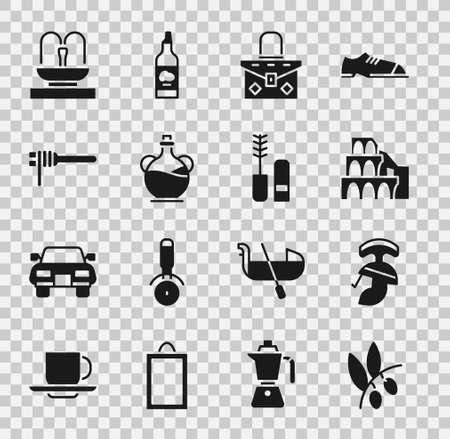 Set Olives branch, Roman army helmet, Coliseum in Rome, Handbag, Bottle of olive oil, Pasta spaghetti, Fountain and Mascara brush icon. Vector Ilustración de vector