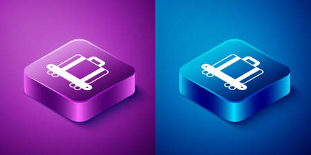 Isometric Airport conveyor belt with passenger luggage, suitcase, bag, baggage icon isolated on blue and purple background. Square button. Vector
