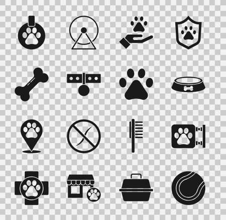 Set Tennis ball, Veterinary clinic, Pet food bowl, Hands with animals footprint, Collar name tag, Dog bone, and Paw icon. Vector