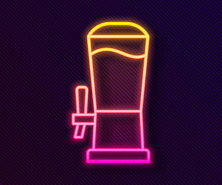 Glowing neon line Beer tap icon isolated on black background. Vector