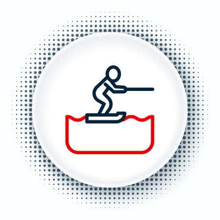 Line Water skiing man icon isolated on white background. Colorful outline concept. Vector