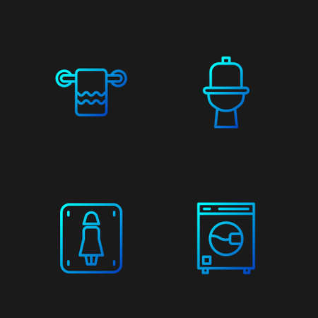 Set line Washer, Female toilet, Towel on hanger and Toilet bowl. Gradient color icons. Vector Ilustración de vector