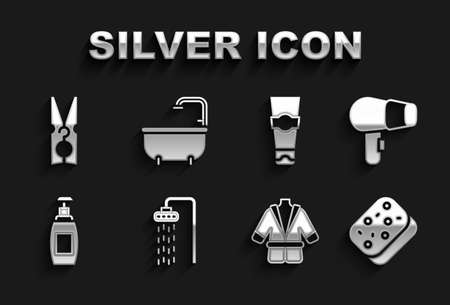 Set Shower, Hair dryer, Sponge, Bathrobe, Bottle of liquid soap, Tube toothpaste, Clothes pin and Bathtub icon. Vector