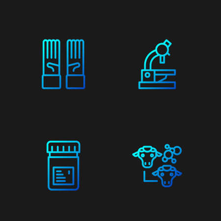 Set line Cloning, Jar with additives, Medical rubber gloves and Microscope. Gradient color icons. Vector