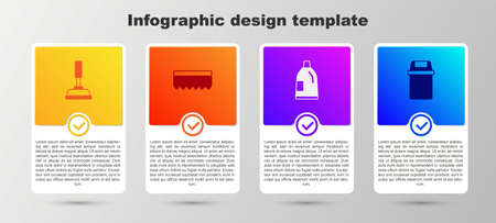 Set Rubber plunger, Sponge, Bottle for cleaning agent and Trash can. Business infographic template. Vector Vector Illustration