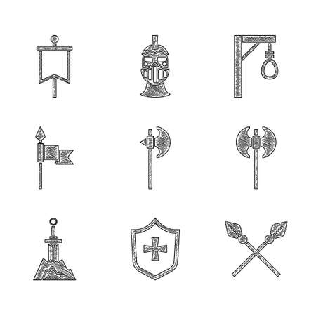 Set Medieval axe, Shield, Crossed medieval spears, Sword in the stone, Gallows and flag icon. Vector Ilustración de vector
