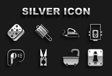 Set Clothes pin, Gas boiler, Female toilet, Bathtub, Shower, Electric iron, Sponge and Hairbrush icon. Vector
