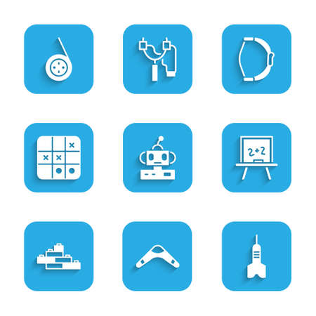 Set Robot toy, Boomerang, Dart arrow, Chalkboard, Toy building block bricks, Tic tac toe game, Bow and Yoyo icon. Vector