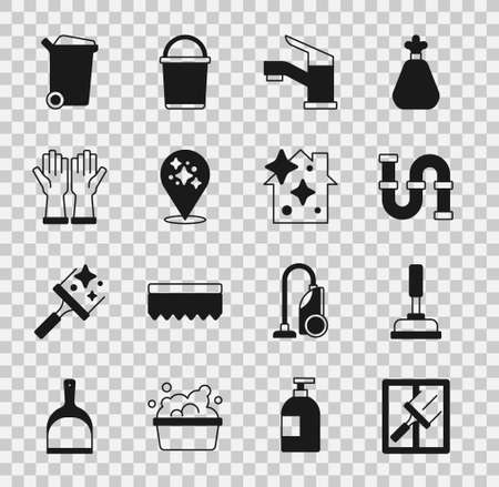 Set Rubber cleaner for windows, plunger, Industry metallic pipe, Water tap, Home cleaning service, gloves, Trash can and icon. Vector