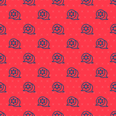 Blue line Hexagram sheriff icon isolated seamless pattern on red background. Police badge icon. Vector