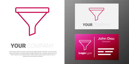 Logotype line Funnel or filter icon isolated on white background. Logó