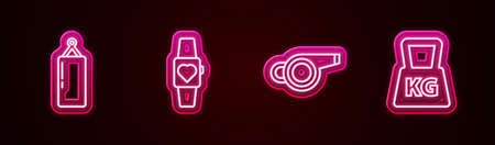 Set line Punching bag, Smartwatch, Whistle and Weight. Glowing neon icon. Vector Vetores