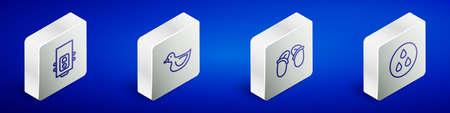 Set Isometric line Gas boiler, Rubber duck, Flip flops and Water drop icon. Vector Vektorgrafik